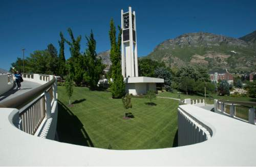 Steve Griffin  |  The Salt Lake Tribune The bell tower on the campus of BYU in Provo.