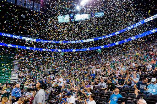 Trent Nelson  |  The Salt Lake Tribune Fans react as the Utah Jazz select Kentucky forward Trey Lyles with the 12th pick in the 2015 NBA Draft. Jazz fans were invited to EnergySolutions Arena in Salt Lake City, Thursday June 25, 2015 to watch a broadcast of the draft.
