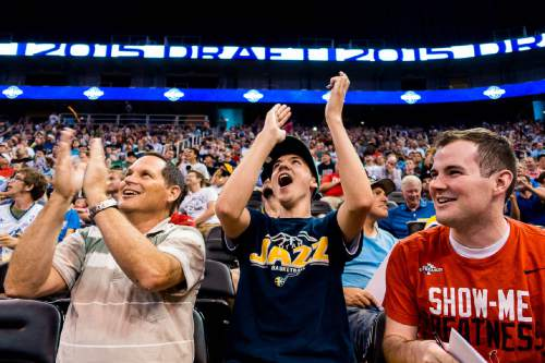 Trent Nelson  |  The Salt Lake Tribune Stuart, Jakob, and Brenden Smith react as the Utah Jazz select Kentucky forward Trey Lyles with the 12th pick in the 2015 NBA Draft. Jazz fans were invited to EnergySolutions Arena in Salt Lake City, Thursday June 25, 2015 to watch a broadcast of the draft.