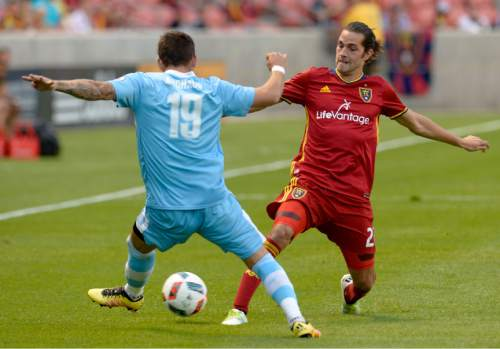 Leah Hogsten  |  The Salt Lake Tribune Real Salt Lake midfielder John Stertzer (27) battles Wilmington's Jeff Michaud. Real Salt Lake is a goal behind Wilmington Hammerheads FC 0-1 at the half during their fourth round 2016 U.S. Open Cup match at Rio Tinto Stadium, Tuesday, June 14, 2016 in Sandy.