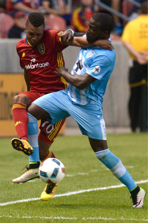 Leah Hogsten  |  The Salt Lake Tribune Real Salt Lake midfielder Jordan Allen (70) and Wilmington's Peabo Dove take their battle out of bounds. Real Salt Lake is a goal behind Wilmington Hammerheads FC 0-1 at the half during their fourth round 2016 U.S. Open Cup match at Rio Tinto Stadium, Tuesday, June 14, 2016 in Sandy.