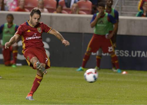 Leah Hogsten  |  The Salt Lake Tribune Real Salt Lake forward Juan Martinez (7) with his scoring kick. Real Salt Lake defeated Wilmington Hammerheads FC 2-2 and 3-1in the shoot out during their fourth round 2016 U.S. Open Cup match at Rio Tinto Stadium, Tuesday, June 14, 2016 in Sandy.