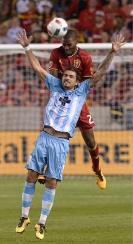 Leah Hogsten  |  The Salt Lake Tribune Real Salt Lake defender Aaron Maund (21) and Wilmington's Mael Corboz battle for a header. Real Salt Lake defeated Wilmington Hammerheads FC 2-2 and 3-1in the shoot out during their fourth round 2016 U.S. Open Cup match at Rio Tinto Stadium, Tuesday, June 14, 2016 in Sandy.