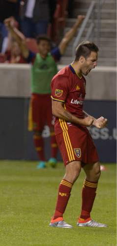 Leah Hogsten  |  The Salt Lake Tribune Real Salt Lake forward Juan Martinez (7) celebrates his second half goal. Real Salt Lake defeated Wilmington Hammerheads FC 2-2 and 3-1in the shoot out during their fourth round 2016 U.S. Open Cup match at Rio Tinto Stadium, Tuesday, June 14, 2016 in Sandy.