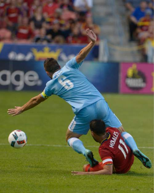 Leah Hogsten  |  The Salt Lake Tribune Real Salt Lake midfielder Javier Morales (11) takes down Wilmington's Liam Miller. Real Salt Lake is a goal behind Wilmington Hammerheads FC 0-1 at the half during their fourth round 2016 U.S. Open Cup match at Rio Tinto Stadium, Tuesday, June 14, 2016 in Sandy.