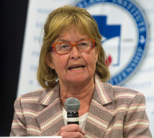 Steve Griffin     The Salt Lake Tribune  Carol Barlow-Lear, a candidate for the District 7 seat of the state school board, introduces herself during a debate hosted by Hinckley Institute of Politics, the Sutherland Institute, KSL and the Utah Association of Public Charter Schools at the Salt Lake Arts Academy in Salt Lake City on Wednesday, June 15, 2016.