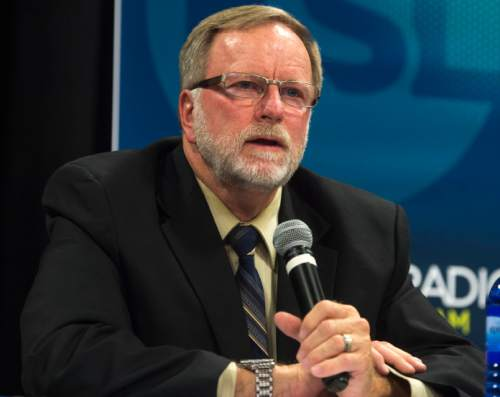Steve Griffin     The Salt Lake Tribune  Frank Strickland, a candidate for the District 7 seat of the state school board, introduces himself during a debate hosted by Hinckley Institute of Politics, the Sutherland Institute, KSL and the Utah Association of Public Charter Schools at the Salt Lake Arts Academy in Salt Lake City on Wednesday, June 15, 2016.