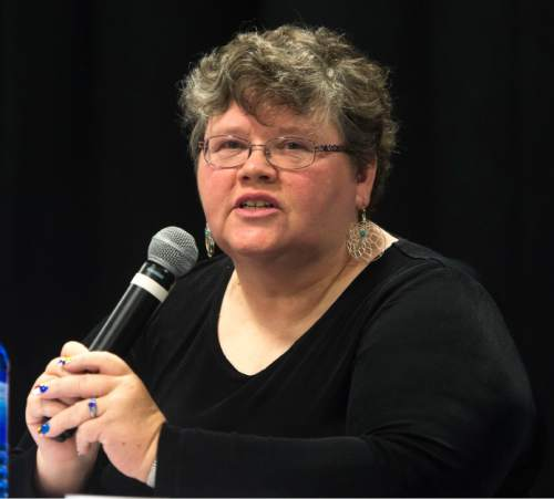 Steve Griffin / The Salt Lake Tribune  Laurie Williams a candidate for the district 7 seat of the state school board introduces herself during debate at an event hosted by Hinckley Institute of Politics, Sutherland Institute, KSL and the Utah Association of Public Charter Schools at the Salt Lake Arts Academy in Salt Lake City Wednesday June 15, 2016.