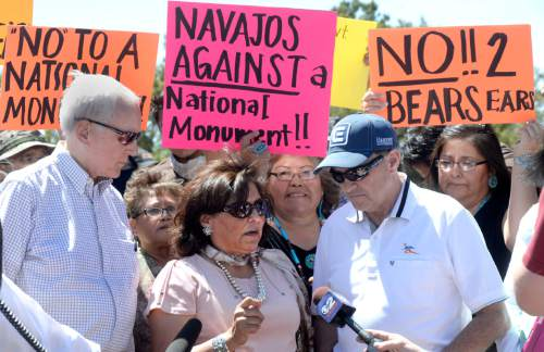 Al Hartmann  |  The Salt Lake Tribune Utah Senator Orrin Hatch, left, and Gov. Gary Herbert, right, speak with San Juan County Commissioner Rebecca Benally at a meeting with San Juan County residents and many members of the Navajo and other Native American tribal members over the proposed Bears Ears National Monument.  They three were all in agreement against creating a new monument in San Juan County.
