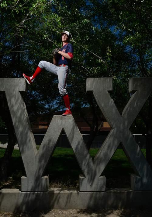 Francisco Kjolseth | The Salt Lake Tribune Woods Cross' Alex Johnson has been named The Tribune's 2016 baseball Player of the Year.