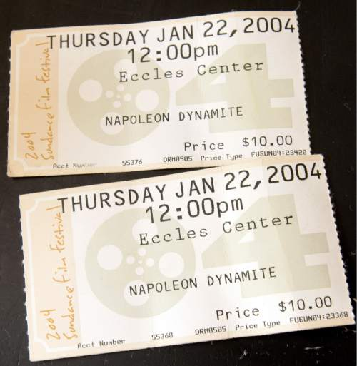 "Ticket stubs from the premiere of Napoleon Dynamite at the 2004 Sundance Film Festival are seen on the kitchen table of Thedora Petterborg who played the school secretary. Twelve years ago, Preston was a town like any other, a relatively quiet part of southern Idaho with a population of just under 5,000 people. Known for That Famous Preston Night Rodeo and its close proximity to the site of the Bear River Massacre, most of the United States would likely have been unable to locate it on a map. Things would change for the small Franklin County town with the release of ""Napoleon Dynamite"" in 2004.(John Zsiray/The Herald Journal via AP)"