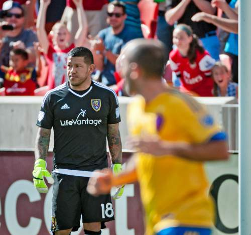 Michael Mangum  |  Special to the Tribune  A stoic Nick Rimando walks away from the goal after Colorado Rapids midfielder Dillon Powers failed to convert a penalty kick against the Real Salt Lake netminder during the second half of their match at Rio Tinto Stadium on Sunday, June 7, 2015. The match ended in a 0-0 draw.