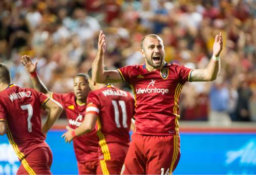 Rick Egan  |  The Salt Lake Tribune  Real Salt Lake forward Yura Movsisyan (14) celebrates after scoring a goal, in MLS soccer action, Real Salt Lake vs. Portland Timbers, in Sandy, Friday, June 18, 2016.
