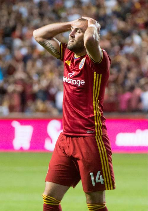 Rick Egan  |  The Salt Lake Tribune  Real Salt Lake forward Yura Movsisyan (14) reacts after nearly scoring a goal late in the game, in MLS soccer action, Real Salt Lake vs. Portland Timbers, in Sandy, Friday, June 18, 2016.
