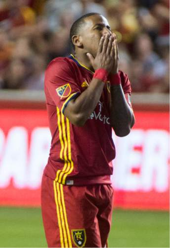 Rick Egan  |  The Salt Lake Tribune  Real Salt Lake forward Joao Plata (10) reacts after nearly scoring a goal late in the game, in MLS soccer action, Real Salt Lake vs. Portland Timbers, in Sandy, Friday, June 18, 2016.