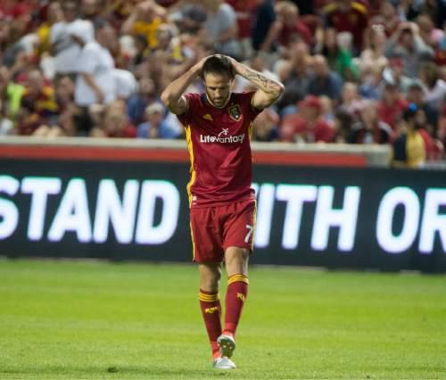 Rick Egan  |  The Salt Lake Tribune  Real Salt Lake forward Juan Martinez (7) reacts after missing a goal, in MLS soccer action, Real Salt Lake vs. Portland Timbers, in Sandy, Friday, June 18, 2016.