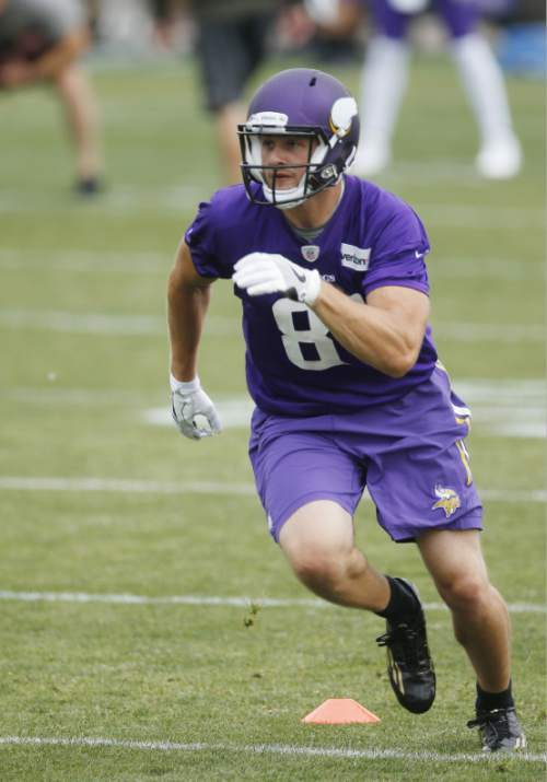 FILE - In this June 14, 2016, file photo, Minnesota Vikings rookie wide receiver Moritz Boehringer, of Germany, runs a route during drills at the NFL football team's minicamp in Eden Prairie, Minn. Boehringer's size and speed captured the attention of the Vikings, who took a chance on a raw wide receiver in the sixth round of the draft. (AP Photo/Jim Mone, File)