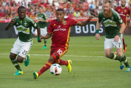 Rick Egan  |  The Salt Lake Tribune  Real Salt Lake forward Joao Plata (10) goes for the ball as Portland Timbers midfielder Diego Chara (21) and Portland Timbers defender Nat Borchers (7) defend,  in MLS soccer action, Real Salt Lake vs. Portland Timbers, in Sandy, Friday, June 18, 2016.