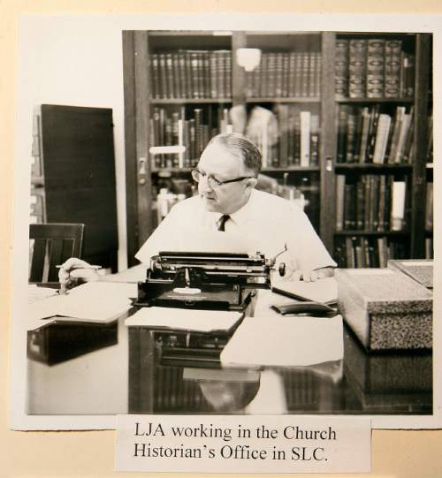 Scott Sommerdorf  l  The Salt Lake Tribune A photo from the papers of Leonard J. Arrington shows him working in the Church Historian's Office in Salt lake City.