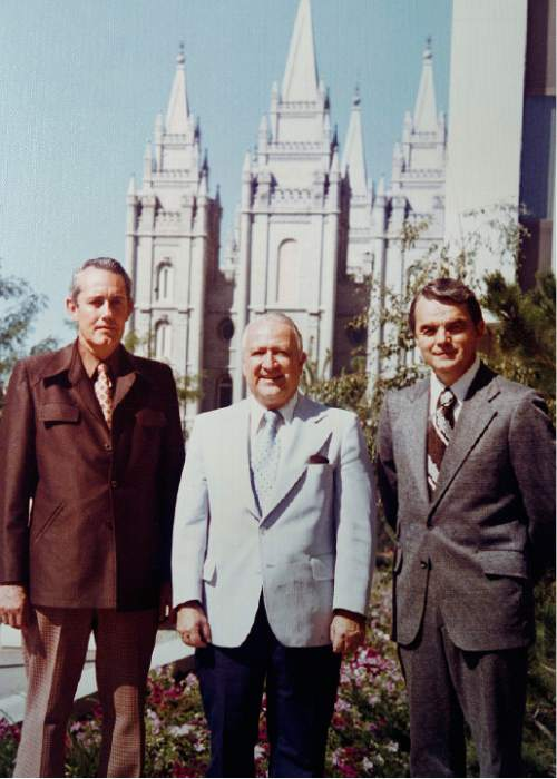 Scott Sommerdorf  l  The Salt Lake Tribune A photo from the papers of Leonard J. Arrington shows Arrington (center), with his two assistantLDS Church historians -- James B Allen (left), and Davis Bitton -- in front of the LDS temple in Salt Lake City sometime after 1972.