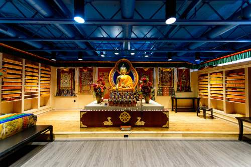 Trent Nelson  |  The Salt Lake Tribune The prayer room at the newly opened Tibetan Cultural Center in Salt Lake City features a new 5-foot tall Buddha statue from Nepal and the original throne His Holiness sat in during his last Salt Lake City visit in 2001. The main reason for His Holiness the Dalai Lama's Utah visit next week is to bless and consecrate the center.