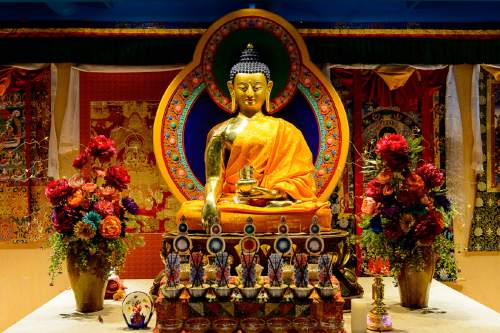 Trent Nelson     The Salt Lake Tribune The prayer room at the newly opened Tibetan Cultural Center in Salt Lake City, Friday June 17, 2016. The main reason for His Holiness the Dalai Lama's Utah visit next week is to bless and consecrate the center. The room features a new 5-foot tall Buddha statue from Nepal and the original throne His Holiness sat in during his last Salt Lake City visit in 2001.