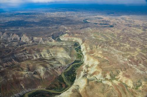 Bruce Gordon  |  Ecoflight  A proposed utility corridor would cross eastern Utah's White River. The BLM is reviewing the project which would serve Enefit American Oil's proposed oil shale mine and processing plant south of Bonanza.