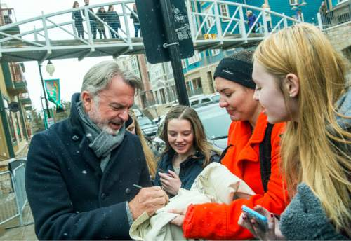 Chris Detrick  |  The Salt Lake Tribune Sam Neill signs autographs for fans during the Sundance Film Festival in Park City Saturday January 23, 2016.
