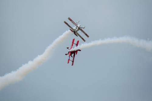 Chris Detrick  |  The Salt Lake Tribune In this file photo from 2012, the Red Eagles (Pitts & Talon Eagle) perform during the Warriors Over The Wasatch air show at Hill Air Force Base.