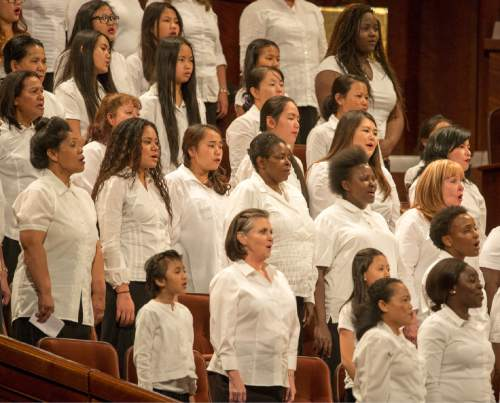 Rick Egan     The Salt Lake Tribune  A choir featuring members from more than 50 countries sing at the General Women's Session of the 186st Annual LDS General Conference, Saturday, March 26, 2016.