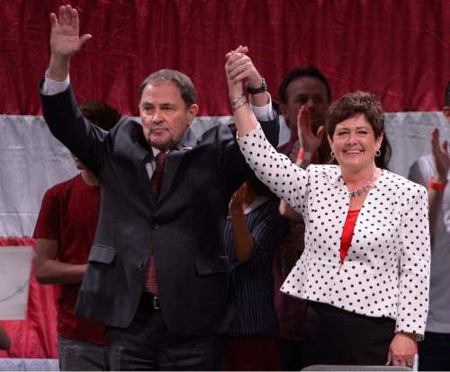 Leah Hogsten     Tribune file photo Incumbent Governor Gary Herbert delivers his re-election speech, backed by his family and wife Jeanette Herbert at the Utah Republican Convention, Saturday, April 23, 2016, at Salt Palace Convention Center.