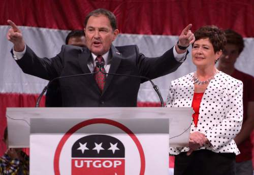 Leah Hogsten  |  Tribune file photo Gov. Gary Herbert delivers his re-election speech, backed by his family and wife Jeanette Herbert at the Utah Republican Convention, Saturday, April 23, 2016, at Salt Palace Convention Center.