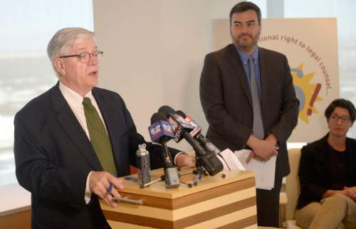 Al Hartmann  |  The Salt Lake Tribune  Attorney John P. Harrington with Holland & Hart LLP, left, and John Mejia, legal director of the ACLU of Utah, host a news conference in Salt Lake City on Tuesday, June 21, 2016. The ACLU of Utah and co-counsel Holland & Hart have filed a lawsuit in 3rd District Court over what they call Utah's failing indigent defense system.
