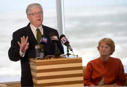 Al Hartmann  |  The Salt Lake Tribune  Attorney John Harrington, of Holland & Hart LLP, left, speaks at a news conference in Salt Lake City on Tuesday, June 21, 2016. The ACLU of Utah and co-counsel Holland & Hart have filed a lawsuit in 3rd District Court over what they call Utah's failing indigent defense system.