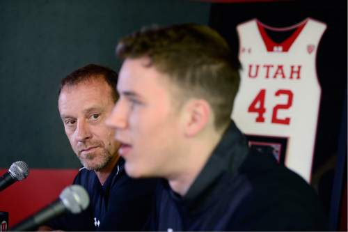 Scott Sommerdorf   |  The Salt Lake Tribune   Utah head coach Larry Krystkowiak watched as Jakob Poeltl announced that he's decided to enter the NBA Draft during a press conference at the Utah practice facility, Wednesday, April 13, 2016.