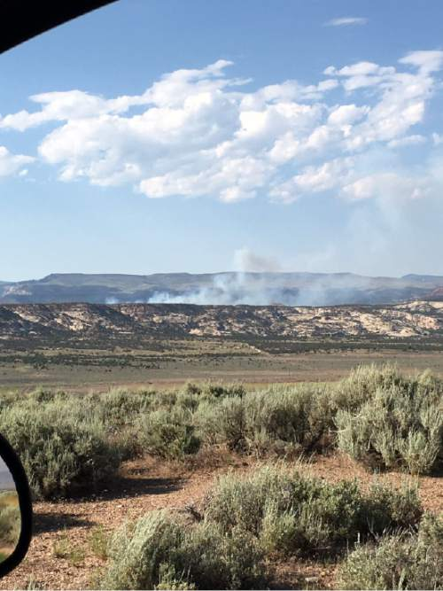 Courtesy  |  Uintah and Ouray Agency  Human-made Ashley Fire broke out Tuesday afternoon north of Vernal and grew to 50 acres within an hour and a half.