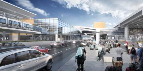 Courtesy  |  Salt Lake City International Airport  An artist's rendering shows proposed elevated TRAX rail extension to new terminal at the airport.