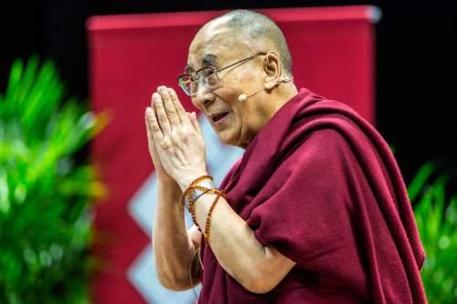 Chris Detrick     The Salt Lake Tribune The Dalai Lama arrives at the Huntsman Center at the University of Utah Tuesday June 21, 2016.