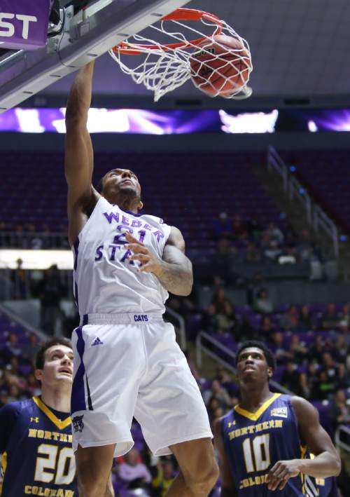 Weber State's Joel bolomboy dunks against Northern Colorado during an NCAA college basketball game Saturday, Jan. 9, 2016, in Ogden, Utah. Weber State defeated Northern Colorado 85-68. (Benjamin Zack/Standard-Examiner via AP)