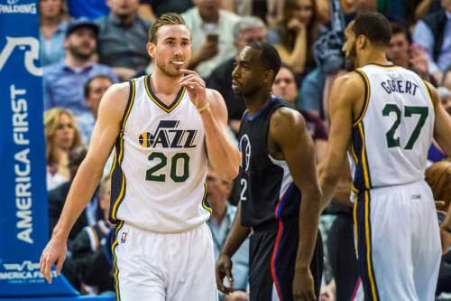 Chris Detrick  |  The Salt Lake Tribune Utah Jazz forward Gordon Hayward (20) during the game at Vivint Smart Home Arena Friday April 8, 2016.