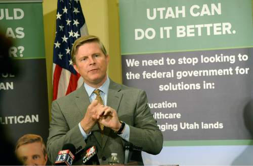 Al Hartmann  |  The Salt Lake Tribune  Despite trailing by large margins in independent polls, Republican governor candidate Jonathan Johnson holds a press conference Thursday June 23 at the Utah state capitol to announce his plans for first 100 days in office.