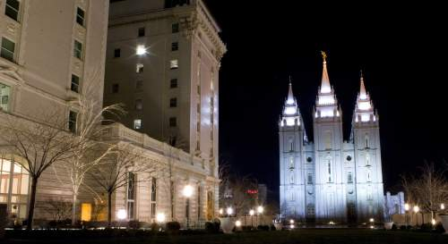 The Salt Lake Temple is seen in a long exposure night shot at Temple Square, Sunday March 23, 2008.   Jeremy Harmon/The Salt Lake Tribune