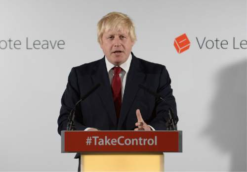 Vote Leave campaigner Boris Johnson holds a press conference at Vote Leave headquarters  in London Friday June 23, 2016.  Britain's Prime Minister David Cameron announced Friday  that he will quit as Prime Minister following a defeat in the referendum which ended with a vote for Britain to leave the European Union. (Stefan Rousseau/Pool via AP)