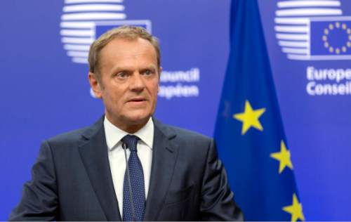 European Council President Donald Tusk speaks during a media conference at the EU Council building in Brussels on Friday, June 24, 2016. Top European Union officials were hunkering down in Brussels Friday to try to work out what to do next after the shock decision by British voters to leave the 28-nation bloc. (AP Photo/Thierry Monasse)