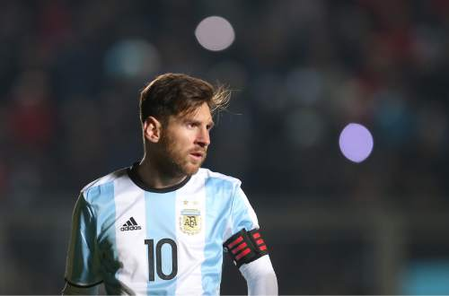 Argentina's Lionel Messi attends a friendly soccer match with Honduras in San Juan, Argentina, Friday, May 27, 2016. (AP Photo/Nicolas Aguilera)