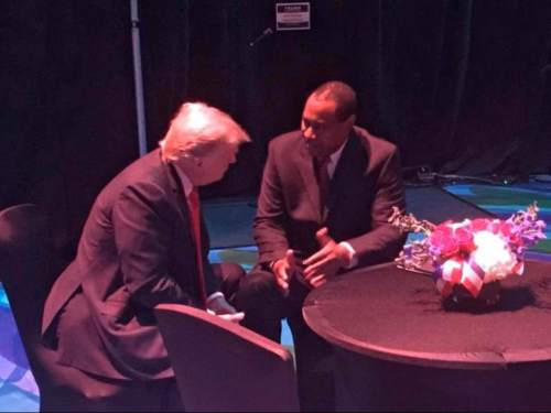 Courtesy | James Evans  Utah Republican Party Chairman James Evans chats with Donald Trump backstage before a rally in Las Vegas.
