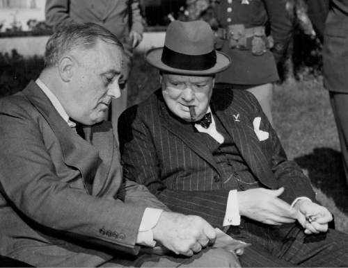 February 4, 1943 Allied Leaders Struggle With War Strategy - Furrowed brown and grim-set jaws marked the faces of the leaders of the two most powerful Allied Nations as they drafted the broad strategy for conduct of the war against the Axis in all theaters of combat, during the historic conference at Casablanca, North Africa, of President Franklin D. Roosevelt and Prime Minister Winston Churchill.  Associated Press Photo