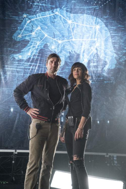 "Luke Wilson as Bill and Carla Gugino as Shelli in ""Roadies."" Katie Yu  |  Showtime"