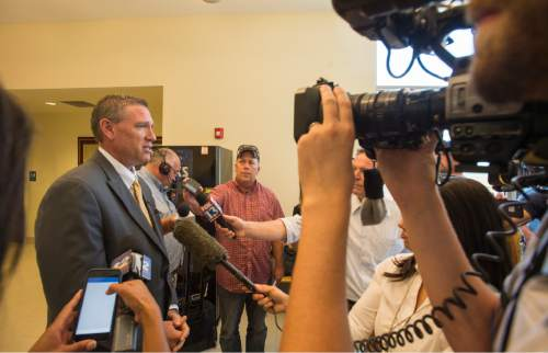 Rick Egan  |  The Salt Lake Tribune  Richard Massey, spokesman for the Ricks family, answer questions from the press regarding the investigation into the homicide of Utah Transit Authority worker Kay Porter Ricks, at the Justice Center in, Kemmerer, Wyoming.Tuesday, June 28, 2016.