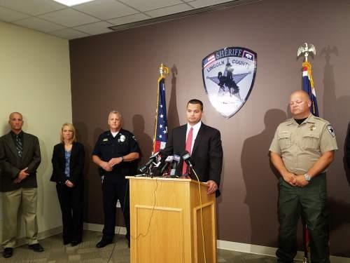 Jessica Miller | The Salt Lake Tribune  Lincoln County, Wyo. Attorney Spencer Allred addressing the media on June 28, 2016.